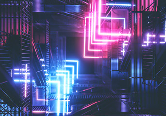 Neon background. Cyberpunk electronic night background concept.