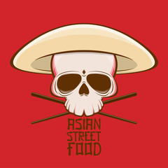 asian street food skull with hat and chopsticks