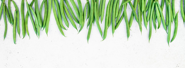 Top view of fresh green beans background Wall mural