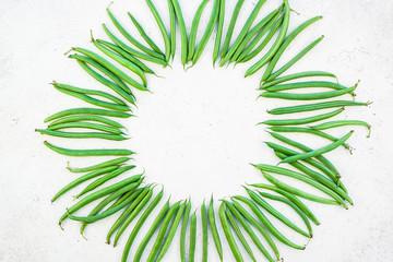 Fototapeta Top view of fresh green beans background