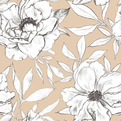 Elegance seamless pattern with floral background.