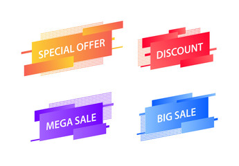 Sale tags collection. Special offer, big sale, discount, best price, mega sale banner set. Shop or online shopping. Sticker, badge, coupon, store. Vector Illustration.