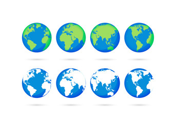 Wall Mural - Big collection Earth globes. Globe and Earth icons. World map. Planet. Vector illustration.