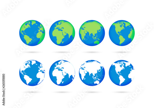 Wall mural Big collection Earth globes. Globe and Earth icons. World map. Planet. Vector illustration.