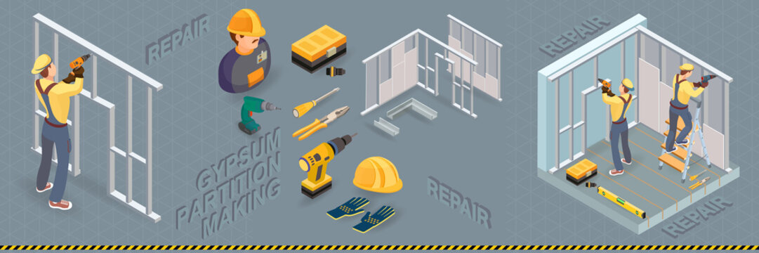 Isometric interior repairs concept. The Repairer is laying tile.