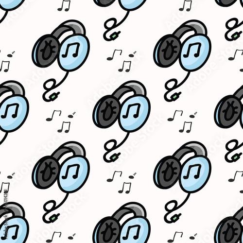 Cute headphones cartoon seamless vector pattern  Hand