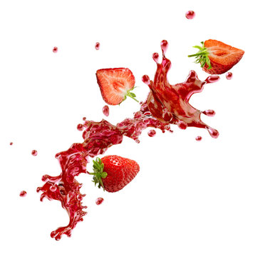 Sweet fresh strawberry juice or jam splash swirl with strawberry. Red berry juice splashing - strawberries juice isolated. Liquid healthy food or drink fruit design element. 3D render