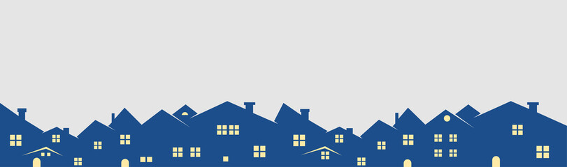 houses blue and grey set logos