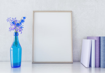 Interior poster mock up with vertical wooden frame and flowers in vase on white wall background 3D render 3D illustration