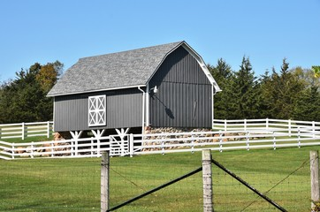 Gray Barn on Clear Day