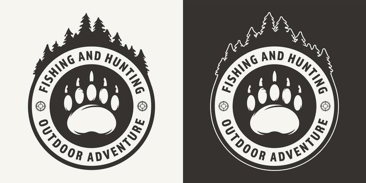 Vintage monochrome hunting round emblem