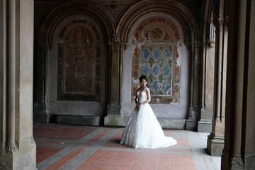 A bride poses for photos in Central Park in New York