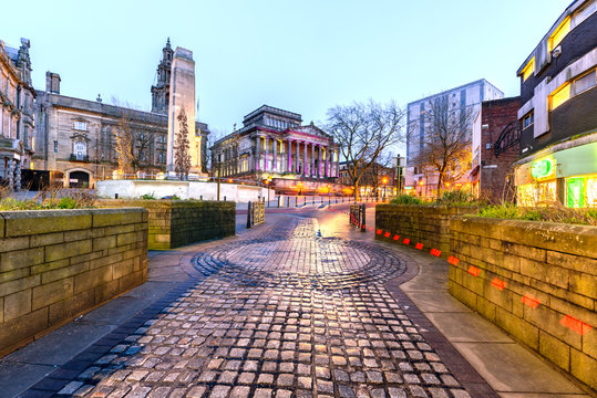 A walkway to Harris Museum and The Sessions House in Preston - England