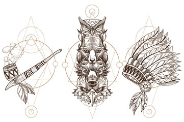 Totem eagle, wolf, fox and owl illustration for creating sketches of tattoos, printing on clothes, design of posters and leaflets. A set of outline illustrations with sketches of tattoos.