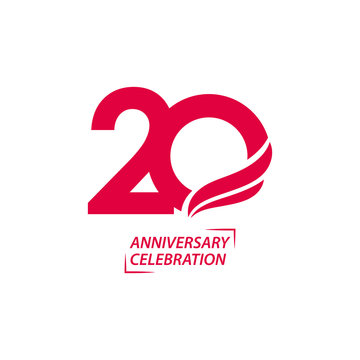 20 Year Anniversary Celebration Vector Template Design Illustration