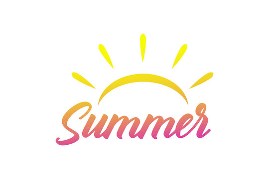 Vector summer colored icon with sun and sunburst hot season sign lettering.