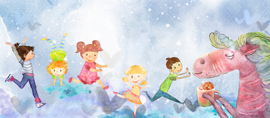Children's games with unicor. Watercolor background