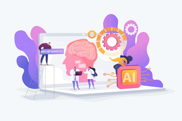 Wall Mural - Brain with neural network on laptop and scientists, tiny people. Artificial intelligence,machine learning, data science and cognitive computing concept. Vector isolated concept creative illustration.