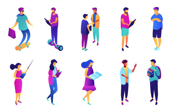 Students and business people, tiny people isometric 3D illustration set. Young professional with tablet, manager, teacher and study at highschool, teenager concept. Isolated on white background.