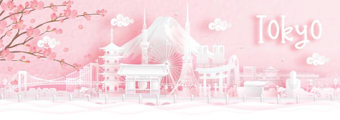 Fototapete - Autumn season with falling Sakura flower and Tokyo, Japan world famous landmarks in paper cut style vector illustration