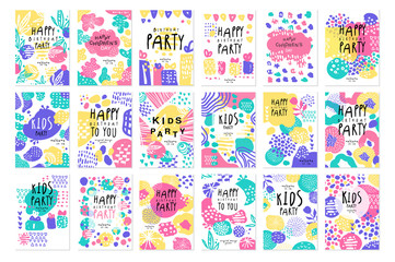Happy birthday party original design posters set, templates for placard, invitation, poster, card, flyer vector Illustrations