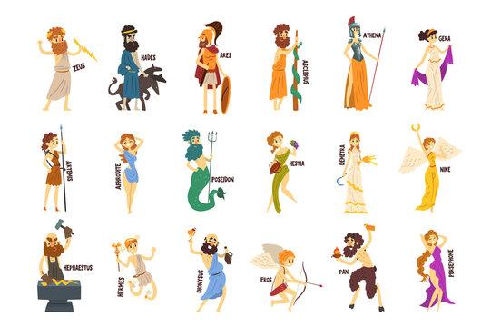 Greek Gods set, Dionysus, Hermes, Hephaestus,Zeus, Hades, Poseidon, Aphrodite, Artemis ancient Greece mythology characters character vector Illustrations