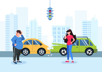 Obraz Man and girl had a traffic accident. Motor Insurance. Girl calling by cell phone. Flat vector illustration. Car accident in the city. Buildings background. - fototapety do salonu
