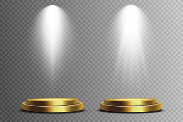 Wall Mural - Scene illumination collection, transparent effects. Bright lighting with spotlights.  Light beam isolated on transparent background. Vector illustration.