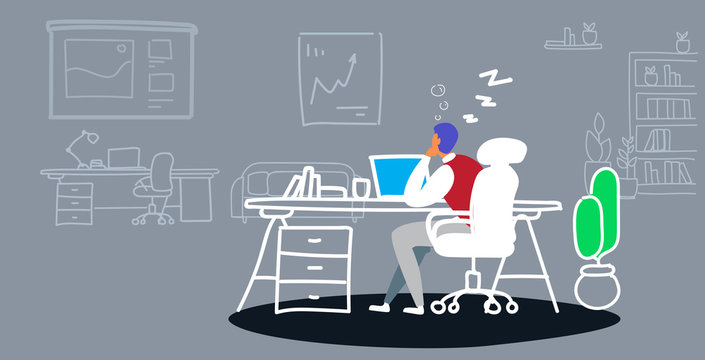 overworked businessman sleeping on workplace tired business man sitting at office and resting during work day boring job concept sketch doodle horizontal vector illustration