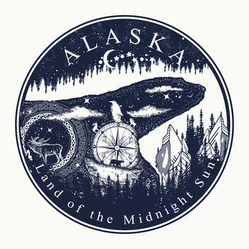 Alaska. Tattoo and t-shirt design. Welcome to state of Alaska (USA).  Land of the Midnight Sun slogan. Travel concept