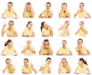 Set of emotional pictures of a teenager girl in a yellow T-shirt, collage. Close-up, white background.