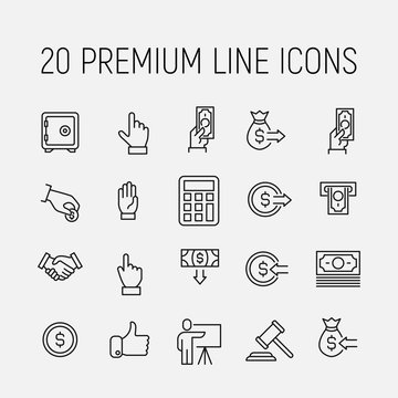 Premium set of auction line icons.