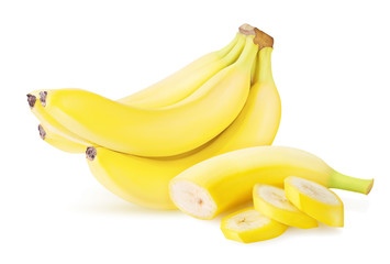 ripe banana isolated on white background with clipping path