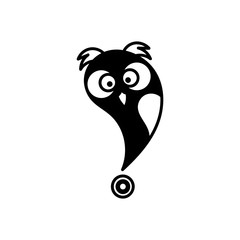 Location vector icon. Cute Owl. Place symbol. GPS pictogram.