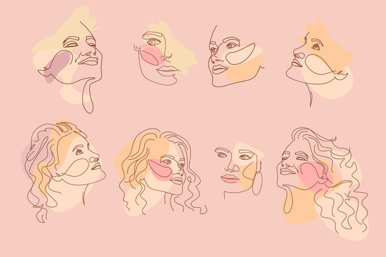 Set of abstract girl portraits in one line style. Poster in minimalistic style. Editable vector illustration
