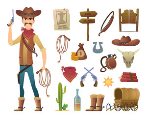 Wild west cartoon. Saloon cowboy western lasso symbols vector pictures isolated. Illustration of wild western cowboy, lasso and gun, cactus and star badge