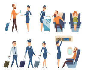 Airplane passengers. Stewardess in uniform boarding airplane safety vector cartoon characters. Illustration of flight attendant, woman hostess and passenger
