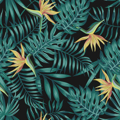 Wall Mural - Tropical leaves blue tone bird of paradise black background