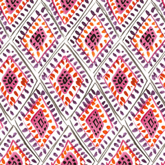 Seamless watercolor pattern with traditional moroccan rhombic ornament