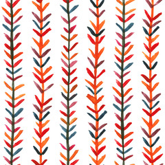 Colorful seamless watercolor pattern with herringbone ornament moroccan style