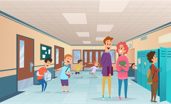 School break. Trouble pupils and students disorganized at school break in corridor vector cartoon characters. Illustration of hallway corridor college and university interior