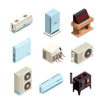 Air conditioner. Heating and cooling systems various types with compressors and pressure pipes vector pictures isometric. Air conditioner and cooling device illustration