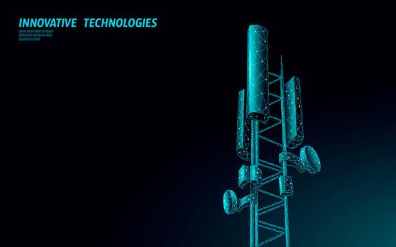 3d base station receiver. telecommunication tower 5g polygonal design global connection information transmitter. Mobile radio antenna cellular vector illustration