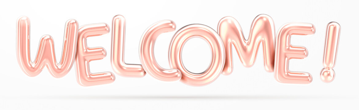 WELCOME rose gold foil balloon