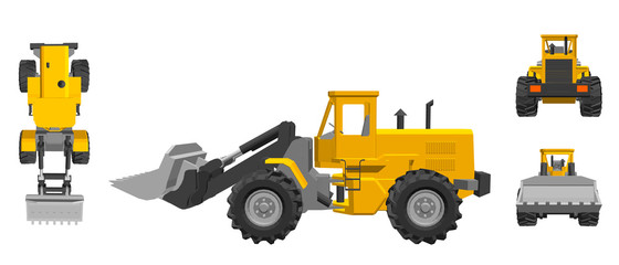 Bulldozer. 3d Vector illustration. Different viewes.