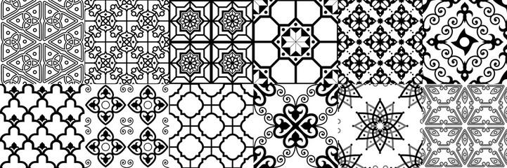 Arabic seamless pattern. Geometric islamic ornament, ramadan pattern and arab ornaments vector set Wall mural