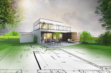 Obraz Projet de construction d'une maison individuelle d'architecte - fototapety do salonu