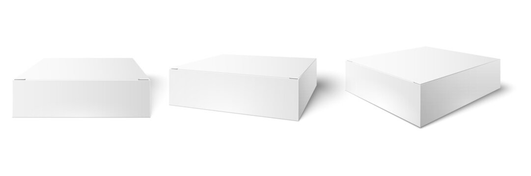 White packaging box. Blank mockup, package cube perspective view and consumer product boxes mockups 3d vector illustration set