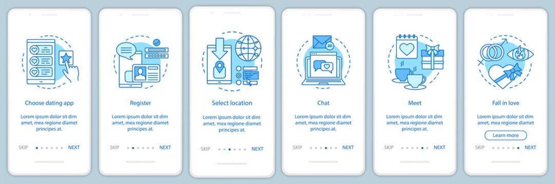 Online dating onboarding app screen vector template