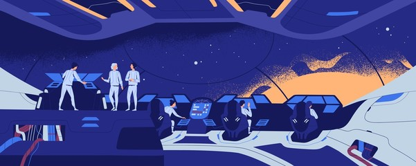 Starship, starcraft, interstellar spacecraft or spaceship and crew members standing and sitting at control panel during spaceflight. Space exploration and travel. Flat modern vector illustration.